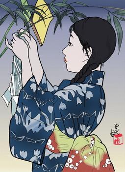七夕の短冊を付ける少女(塗り絵3).jpg